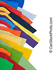 Sleeves of bright multicolored clothing, isolated on white background.