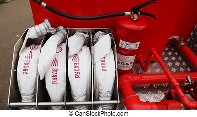 Sleeves of fire hoses with inscriptions Sleeve, fire...