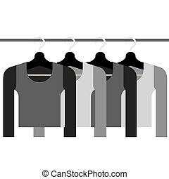 Sleeves Shirts With Hangers Vector.