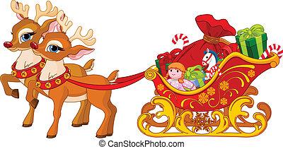 sleigh, の, サンタクロース