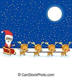 sleigh, トナカイ, claus, santa