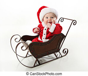 sleigh, bebê, sorrindo, santa, sentando