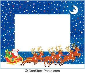 sleigh, borda, san, natal
