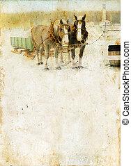 sleigh, caballos, en, un, grunge, plano de fondo