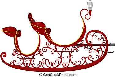 Sleigh. - Cartoon Santa's sleigh. Vector