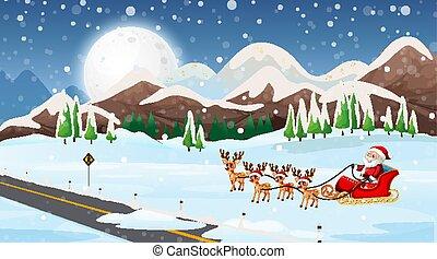sleigh, cena, santa