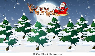 sleigh, cena, santa, rena