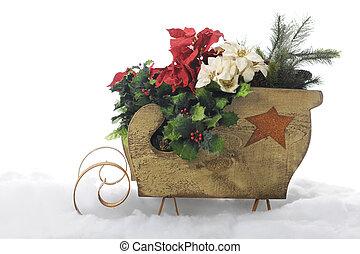 sleigh, cheio, Natal,  foliage