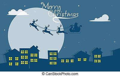 sleigh, città, santa, fondo, claus