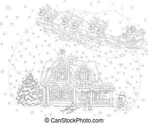 sleigh, claus, natal, santa