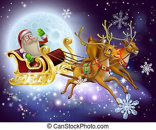 sleigh, claus, navidad, santa, escena