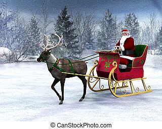 sleigh, claus., tirar, reno, santa