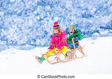 sleigh, divertimento, cavalcata, bambini, detenere