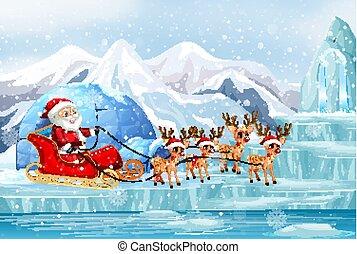 sleigh, equitación, santa, escena