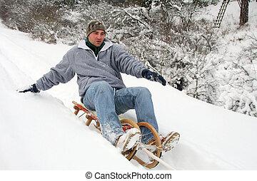 sleigh, giù, cavalcata, montagne