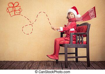 sleigh, imaginárius, autózás, szent, gyermek