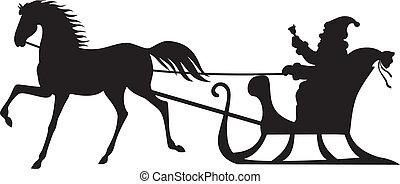 sleigh, montando, cavalo, claus, santa