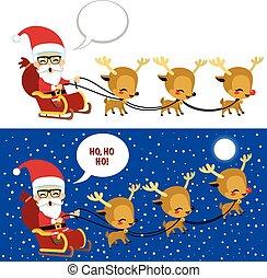 sleigh, natale, santa, scena