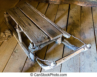 Old traditional village wooden sleigh