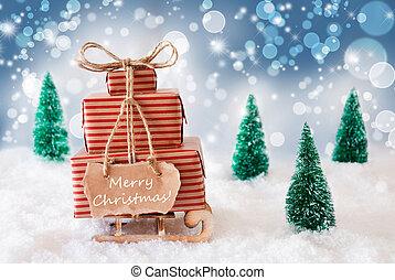 Sleigh On Blue Background, Merry Christmas