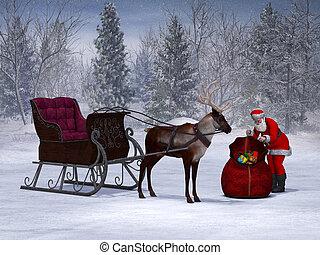 sleigh, preparando, santa, ride., el suyo