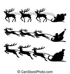 sleigh, reindeers , santa , vector.