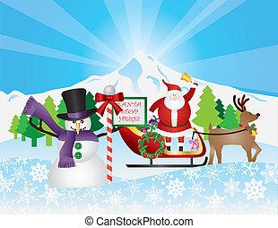 sleigh, rena, neve, santa, cena