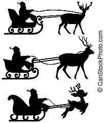 sleigh, renifer, cień, santa