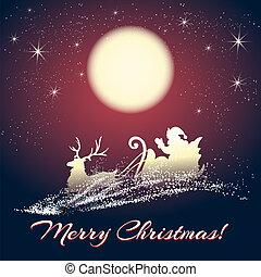 sleigh, reno, claus, santa