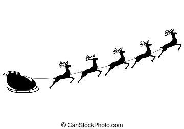 sleigh, santa, 乗車, claus, トナカイ, 馬具