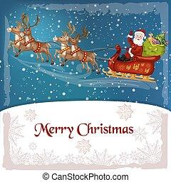 sleigh, santa-claus, reindee