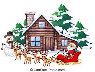 sleigh, santa, rena, cena