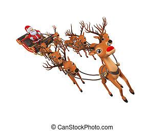 sleigh, seu, santa