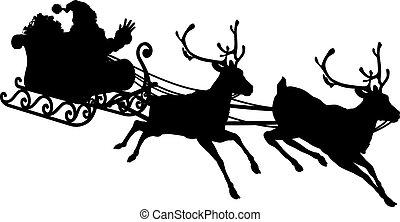 sleigh, silueta, santa