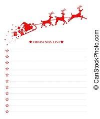 sleigh, szent, christmas lista, kíván, sablon, vektor