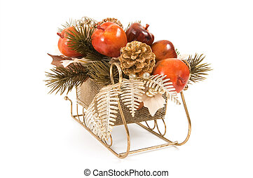 Sleigh With Fruit Ornaments