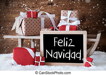 Sleigh With Gifts, Snow, Snowflakes, Feliz Navidad Means Merry Christmas
