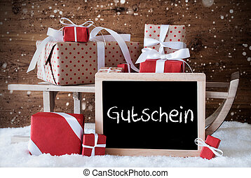 Sleigh With Gifts, Snow, Snowflakes, Gutschein Means Voucher...