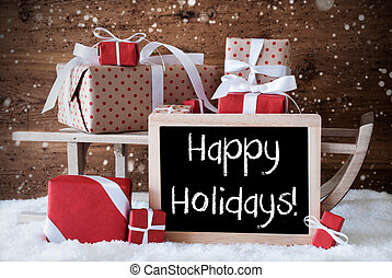 Sleigh With Gifts, Snow, Snowflakes, Text Happy Holidays