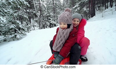 Sleighing Together - Unsteady tracking shot of two children...