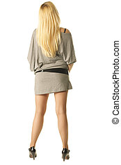 Slender blonde turned back over white background