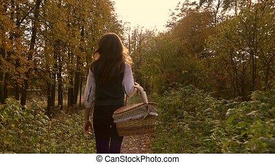 Slender brunette girl walking in autumn forest holding a picnic basket. 4K steadicam video