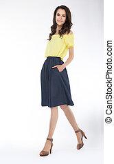 Slender cute girl fashion model - series of photos