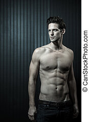 Slender Male Washboard Abs - Slender Male With Shirt Open...