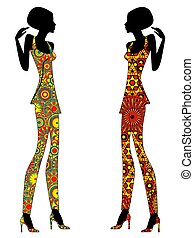 Slender stylish women in short ornate dresses