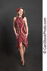 slender woman in a dress