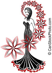slender woman in a long dress on a white background with a...
