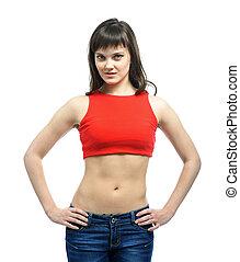 slender woman in sportswear