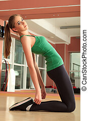 slender - Young sporty woman doing exercises in the gym...