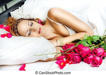 slepping, mulher, vermelho, bonito, rosas